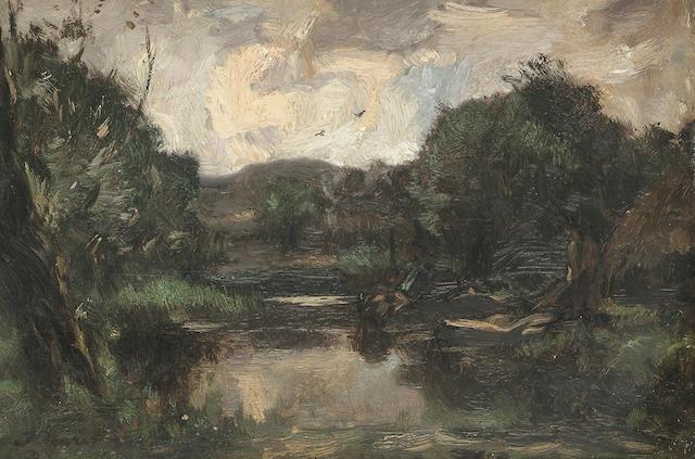 Follower of Jacob Maris A river scene, 18.5 x 27.5 cm (7 1/4 x 10 7/8 in.)