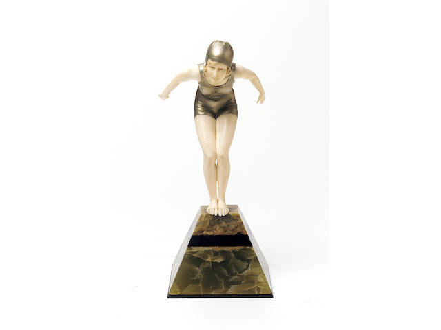 Ferdinand Preiss, circa 1925 'The Diver' a Fine Cold-Painted Bronze and Carved Ivory Figure