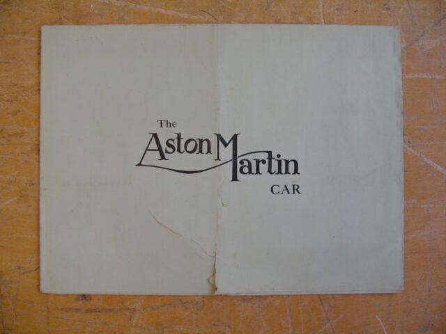 A very early Aston Martin sales brochure, circa 1926,