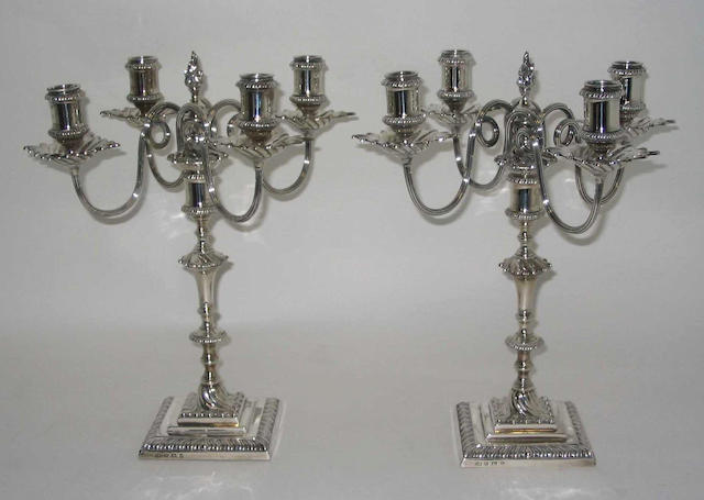 A pair of late 18th Century style four branch candelabra By Elkington and Co, Birmingham, 1913,