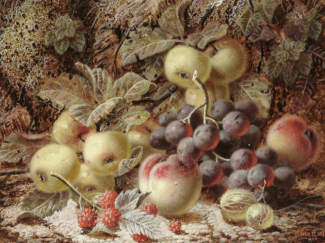 Oliver Clare (British, c.1853-1927) Still life of fruit on a mossy bank, 22 x 30 cm (8 1/2 x 11 3/4 in.)