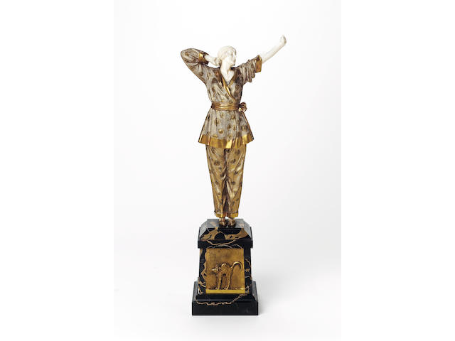 Dimitri Chiparus, circa 1925 'Pyjama Girl' a Gilt Bronze and Carved Ivory Figure