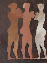 Nikos Nikolaou (Greek 1909-1986) Three figures 128 x 96 cm. (50 1/2 x 37 3/4 in.)