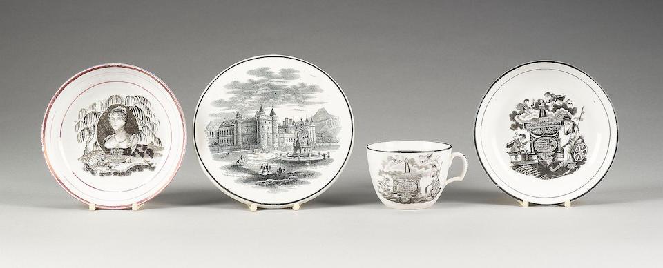A porcelain 'Princess Charlotte' commemorative teacup and saucer, a pink lustre saucer, circa 1821 a