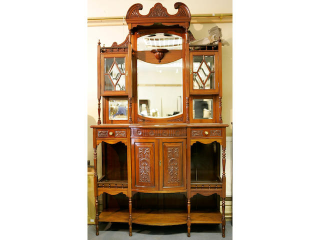 A large Edwardian mahogany mirror back Display Cabinet, 218cm x 122cm x 38cm