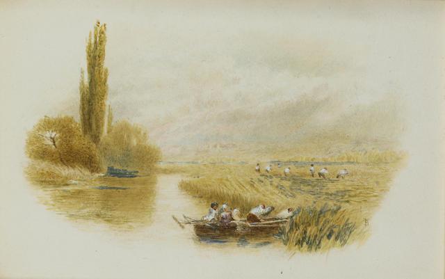 Myles Birket Foster R.W.S. (British, 1825-1899) Haymaking on the Thames 10 x 15 cm. (4 x 6 in.), vignette