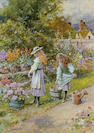 William Stephen Coleman (British, 1829-1904) Watering the garden 31 x 22.5 cm. (12 x 9 in.)