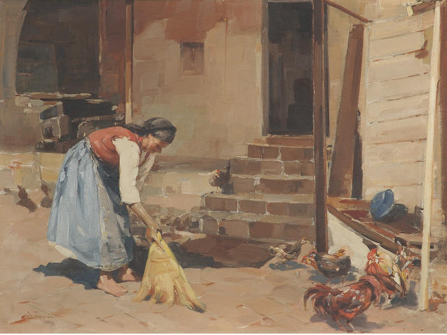Vassilis Germenis (Greek 1896-1966) Dusting the yard 60 x 80 cm. (23 5/8 x 31 1/2 in.)