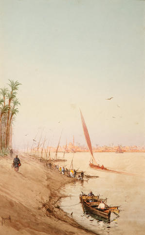 Spyridon Scarvelli (Greek 1868-1942) a) View of the Nile 23 x 37 cm. (9 x 14 1/2 in.) (2)