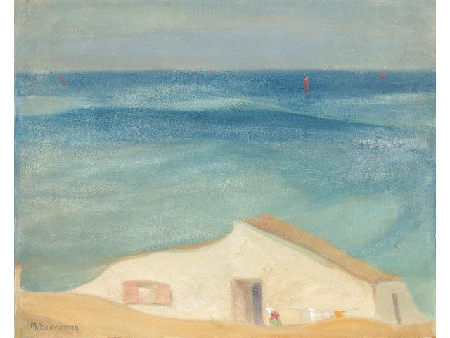 Michalis Economou (Greek 1888-1933) House by the sea 49 x 61 cm. (19 1/4 x 24 in.)