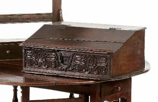 A late 17th oak plank desk box,