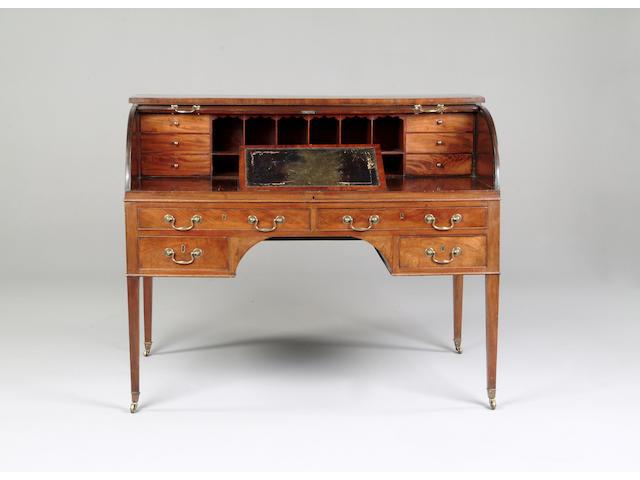 A George III mahogany roll top bureau
