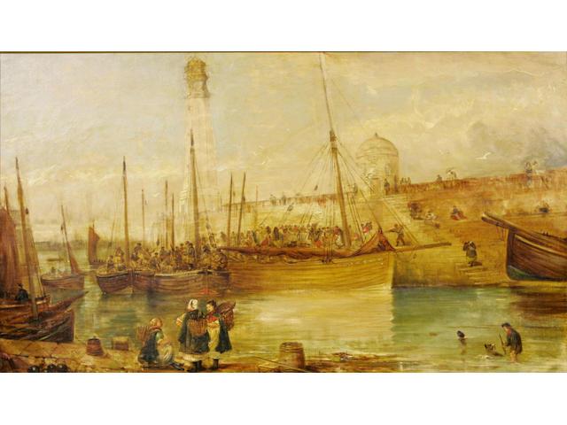 Alexander Leggett (19thc) Bait sale, Newhaven 50 x 84cm