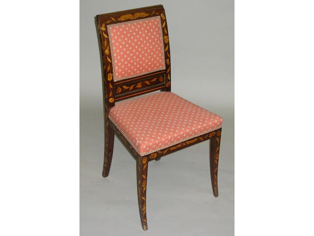A 19th Century Dutch mahogany and floral marquetry inlaid upholstered standard chair,