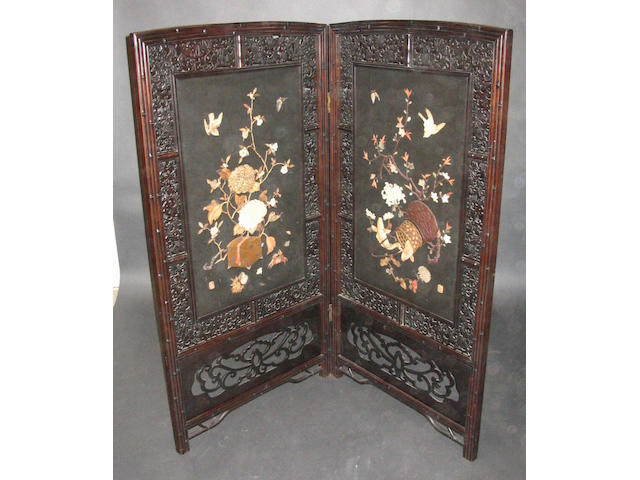 A Japanese stained and carved wood two fold screen