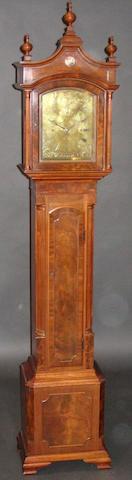 A small figured mahogany longcase clock