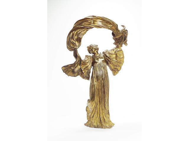 Agathon Léonard, circa 1900 'Scarf Dancer' a Large Gilt Bronze Figural Lamp