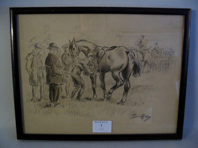 """'Snaffles' East Galway Point-to-Point Circa 1930, signed 'Snaffles' in pencil, pencil, ink and watercolour, 23.5 x 31.5cm (9 1/2 x 12 1/4in), in old moulded stained beech frame with """"J. Pratt & Sons ... Derby"""" label verso.  See illustration"""
