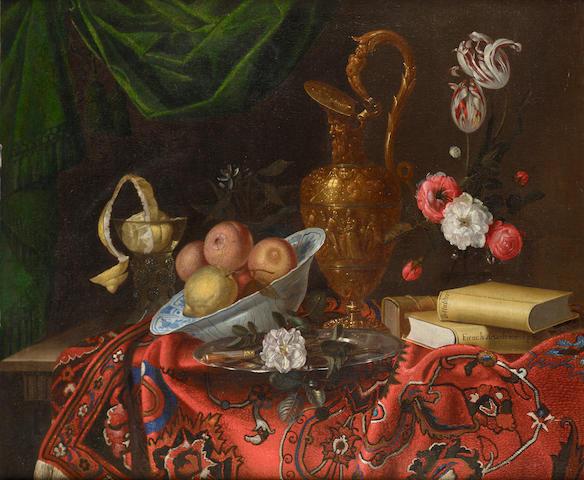 Jacques Samuel Bernard Oranges and lemons in a <i>wan-li kraak</i> dish, a rose on a silver salver b