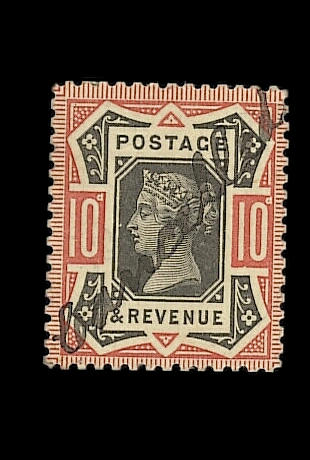 "1887-92 Jubilee Issue: 10d. colour trial in black and red on thick card, line perf. 14, endorsed ""Cancelled"" in manuscript. Unlisted by S.G.. Ex Marcus Samuel, unique. B.P.A. Certificate (2004)."