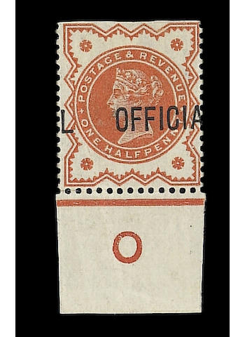 "Officials I.R.: 1888 ½d. vermilion, imperf at top, without ""I.R."" and shifted overprint, a superb ""O"" control example. Wiseman CA1-5f. Ex Silkin, very rare."