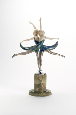Prof.Otto Poertzel, circa 1925 'Butterfly Dancers' An Exceptionally Fine Cold-Painted Bronze and Carved Ivory Figural Group