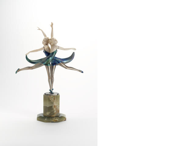 Prof.Otto Poertzel, circa 1925 'Butterfly Dancers' An Exceptionally Fine Cold-Painted Bronze and Car