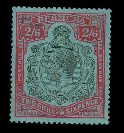Bermuda: 1924-32 2/6d. grey-black and pale orange-vermilion on grey-blue, unmounted mint, one short