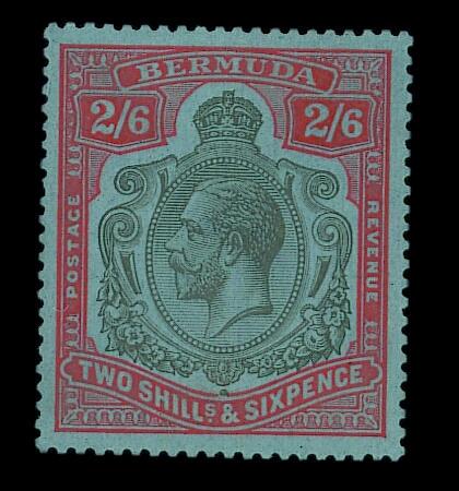 Bermuda: 1924-32 2/6d. grey-black and pale orange-vermilion on grey-blue, unmounted mint, one short