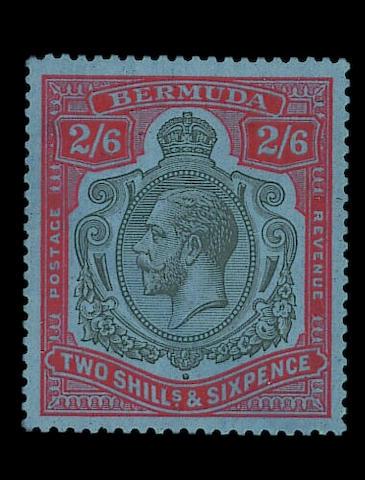 Bermuda: 1924-32 Script 2/6d. black and bright orange-vermilion on deep blue, fine and fresh unmounted mint. Brandon Certificate (1990). S.G. £3000+ (461)