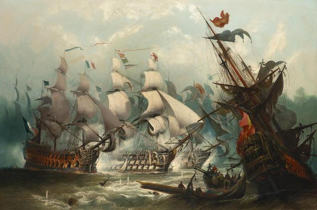 "John Callow (British, 1822-1878) H.M.S. ""Victory"" heavily engaged at Trafalgar 61 x 91.4cm. (24 x 36in.)"
