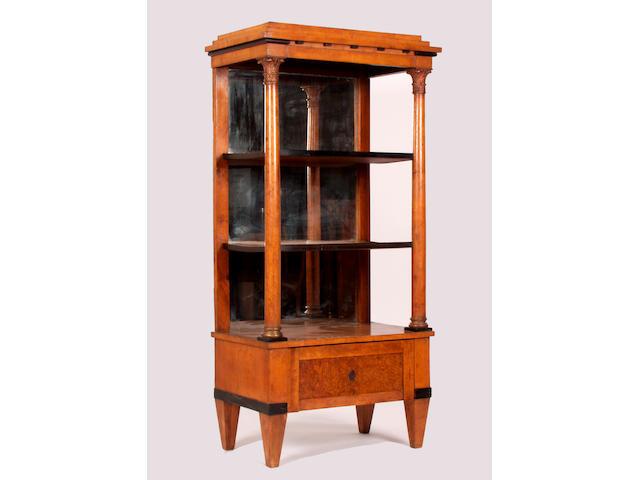 A Biedermeier satin-birch open display case