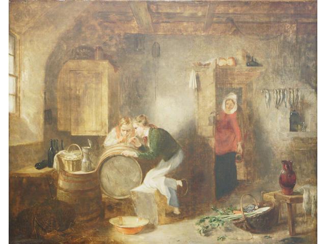 Alexander Fraser Sr (19thc) Tapping the cask 74 x 91cm