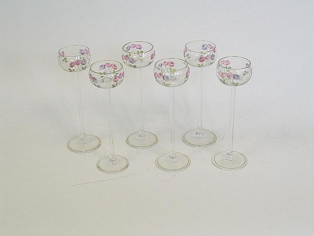 A set of six liqueur glasses,