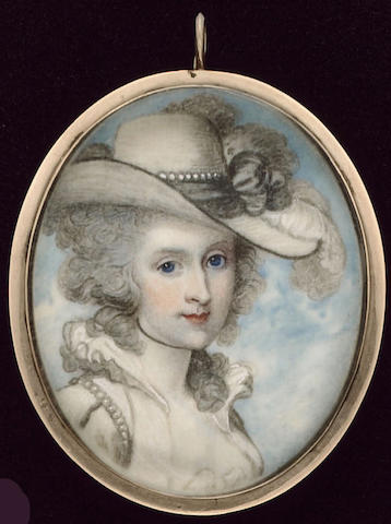 School of Richard Cosway R.A., A Lady, wearing white dress with ruff collar, pearls on her sleeve, cream hat with black trim adorned with black ribbon, pearls and ostrich feathers