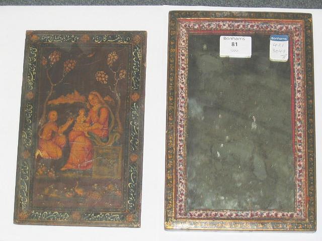 A Qajar lacquer papier-mache Mirror Case Persia, Isfahan, dated AH 1272/AD 1855-56