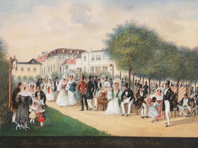 Balthasar Wigand (Austrian, 1771-1846) The Paradise Gardens at Lövelbusteg, Vienna 8 x 10.5 cm. (3 1/4 x 4 1/4 in.)