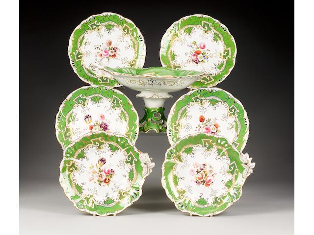 A Samuel Alcock pierced part dessert service, circa 1845,