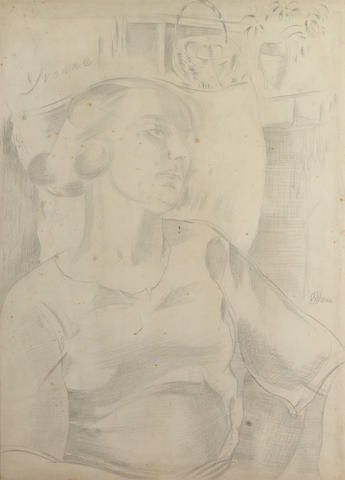 Paul Nash, Yvonne, Framed pencil drawing
