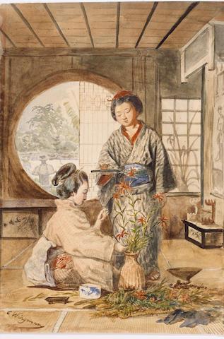 CHARLES WIRGMAN [1832-1891], two Yamato Nadeshko in an interior;
