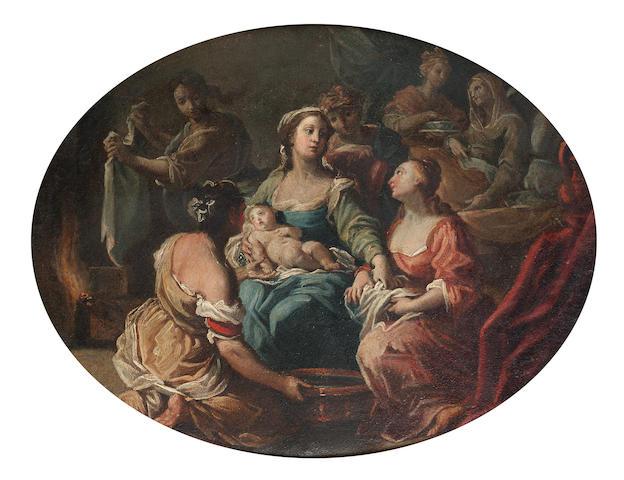 Antonio Gionima (Venice 1697-1732 Bologna) The Birth of the Virgin 26.5 x 33 cm. (10½ x 13 in.)
