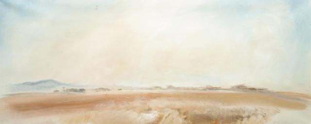 John Hitchens (British, b.1940) 'Redlands Evening' 45.5 x 109cm (18 x 43in)