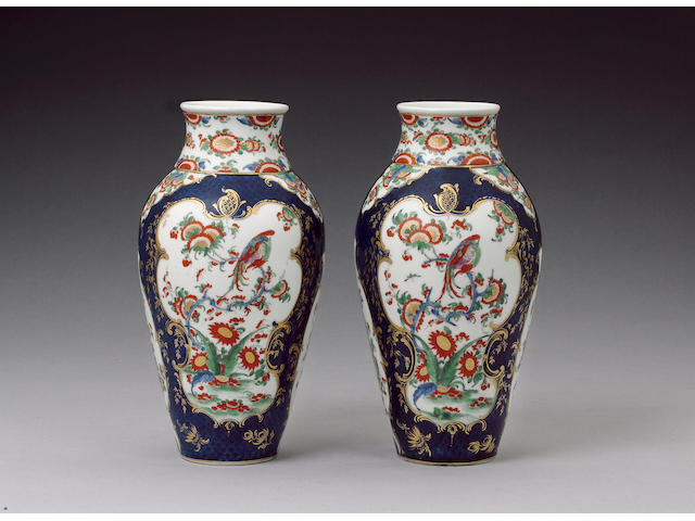 A fine pair of Worcester vases circa 1768
