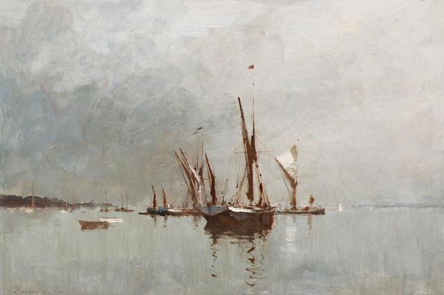 Edward Seago (British, 1910-1974) Thames barges 41 x 61 cm. (16 1/8 x 24 in.)