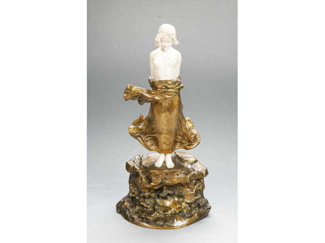 D'Alonzo, A gilt bronze and ivory figure of a girl,