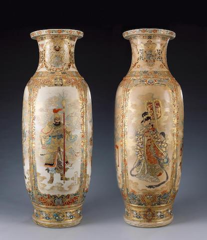 An Impressive Pair of Satsuma-style Stoneware Vases,