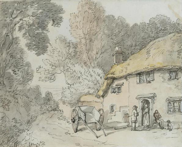 Thomas Rowlandson (British, 1756-1827) A Village Inn 16 x 19.5 cm. (6 1/4 x 7 3/4 in.)
