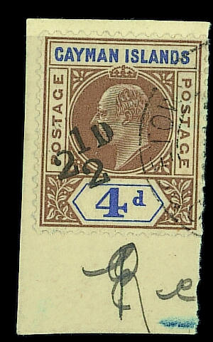 Cayman Islands: 1908 (Feb. 12th.) 2½d. on 4d., fine used on small piece. Brandon Certificate (2004). S.G. £2500. (720)
