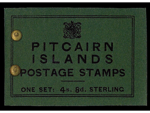 Pitcairn Islands: 1940 4/8d. black on deep green booklet complete, fine with brass paper fasteners instead of a staple, rare. S.G. £2750. (476)
