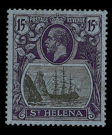 St Helena: 1922-37 Script 15/-, showing variety torn flag, mint, faint trace of toning on gum, otherwise fine and rare. S.G. £3500. (517)